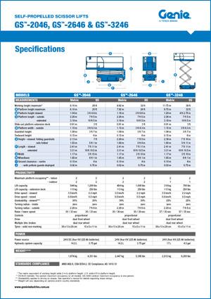Scissor Lift Specifications